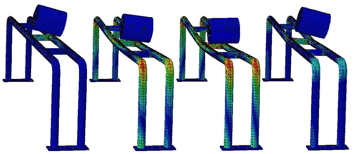 Kollisionsuntersuchung an einer Stahlkonstruktion berücksichtigt dreifache Nichtlinearität: Geometrie, plastisches Werkstoffverhalten und Kontakt. Was mit der klassischen Mechanik nicht lösbar ist, stellt heutzutage für ein modernes FEM-Programm wie Abaqus kein Problem mehr dar.
